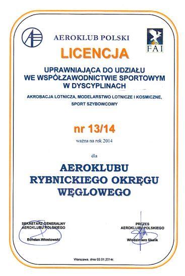 Licencja sportowa Aeroklub ROW
