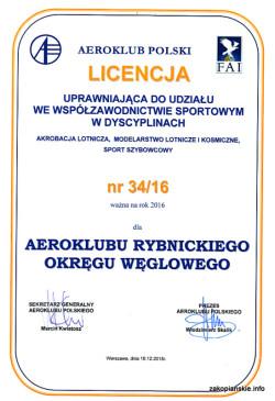 Licencja Sportowa Aeroklubv ROW